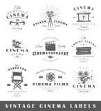 Set of vintage cinema labels Stock Images