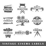 Set of vintage cinema labels. Posters, stamps, banners and design elements. Vector illustration Stock Photography