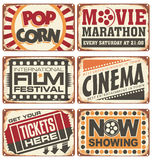 Set of vintage cinema metal signs Stock Photography