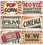 Set of vintage cinema metal signs. Retro cinema creative design concept. Vector design Stock Photography