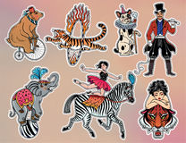 Set of vintage circus stickers, patches, elements. Stock Photography