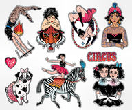 Set of vintage circus stickers, patches, elements. Stock Photo