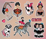 Set of vintage circus stickers, patches, elements. Royalty Free Stock Photo