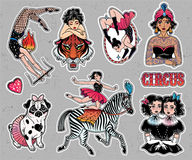 Set of vintage circus stickers, patches, elements. Stock Photos
