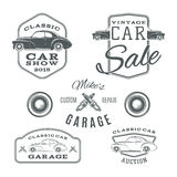 Set of vintage, classic car services labels Royalty Free Stock Photography