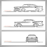 Set of vintage classic car silhouettes, outlines, contours. Front, side and three-quarter view. Vector illustration on white background royalty free illustration