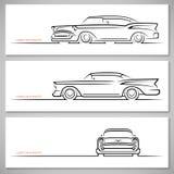 Set of vintage classic car silhouettes, outlines, contours Stock Photo