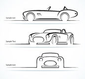 Set of vintage classic sports car silhouettes Royalty Free Stock Photos