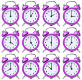 Set vintage clock alarm one for each hour Stock Photography