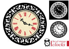 Set of vintage clocks icon Royalty Free Stock Images