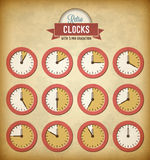 Set of vintage clocks Royalty Free Stock Image