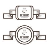 Set of vintage coffee badges and labels brown color on white background vector illustration