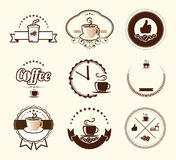 Set of vintage coffee badges and labels Stock Image