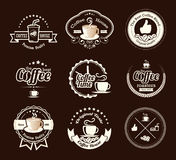 Set of vintage coffee badges and labels Stock Photography