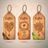 Set of vintage coffee labels Stock Photos