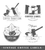 Set of vintage coffee labels Stock Photo