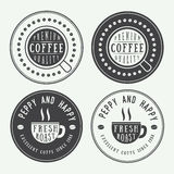 Set of vintage coffee logos, labels and emblems with cup, dish and grains Stock Photography