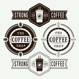 Set of vintage coffee logos, labels and emblems Stock Photos