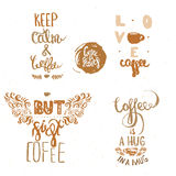 Set of Vintage coffee quote Labels, coffee quote logo templates For Coffee House, coffee quotes for Coffee Shop, Cafe Royalty Free Stock Photography