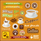 Set of vintage coffee and tea icon Stock Photos