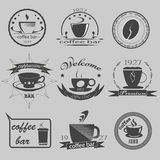 Set of vintage coffee themed monochrome labels. Vector Stock Photos