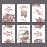 Set of 6 vintage color Wedding cards based on sketches and brush calligraphy. Includes wine glass, bouquet and cake. Set of 6 vintage color Wedding cards based Royalty Free Stock Image