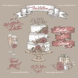 Set of vintage color Wedding sketches and brush calligraphy. Includes wine glass, ribbon banner and cake decor sketch. Set of vintage color Wedding related Stock Photo