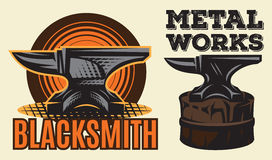 Set of vintage colored blacksmith label with anvil. Vector illustration. Royalty Free Stock Image