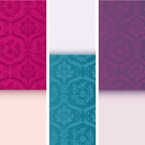 Set of vintage colorful damask vertical banners Stock Images