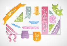 Set of vintage colorful label and ribbon Royalty Free Stock Image