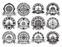 Set of vintage compasses with a wind rose Royalty Free Stock Photography