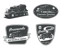 Set of vintage concrete mixer truck emblems and badges. Set of vintage concrete mixer truck and construction equipment logo, emblems and bages isolated on Royalty Free Stock Images