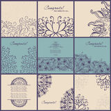Set of vintage Congrats cards with lace ornament Stock Images