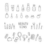 Set of vintage cosmetics elements and beauty Royalty Free Stock Photos