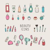 Set of vintage cosmetics elements and beauty Stock Images