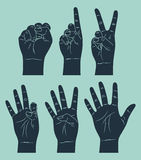 Vintage counting hand. Set of vintage counting hand Royalty Free Stock Images