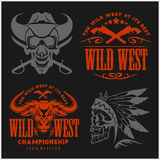 Set of vintage cowboy emblems, labels, badges, logos and designed elements. Wild West theme. Stock Photos