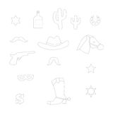 Set of vintage cowboy icons Royalty Free Stock Images