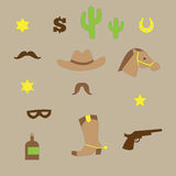Set of vintage cowboy icons Royalty Free Stock Photos