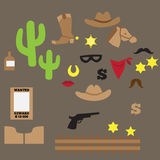 Set of vintage cowboy party ideas Stock Image