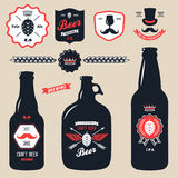 Set of vintage craft beer bottles brewery badges. Set of vintage craft beer bottles brewery Royalty Free Stock Images