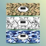 Set of Vintage Creative Banners with Camo, Camouflage Patterns. Retro Presentation for Web site Banner Designs. Royalty Free Stock Photography