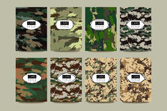 Set of Vintage Creative Cards with Camo, Camouflage Patterns. Stock Images