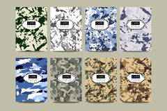 Set of Vintage Creative Cards with Camo, Camouflage Patterns. Stock Photo