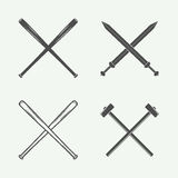 Set of vintage cross weapons in retro style. Stock Photos