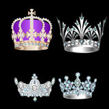 Set of vintage crowns on a black background Royalty Free Stock Photos