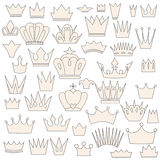 Set of vintage crowns, doodle style Royalty Free Stock Photo