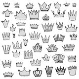 Set of vintage crowns, sketch Royalty Free Stock Image