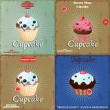 Set Vintage Cupcake Royalty Free Stock Photo