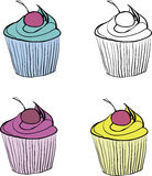Set of vintage cupcakes painted hands Royalty Free Stock Photos